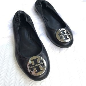 TORY BURCH Reva Leather Ballet Flats - Black/Slvr